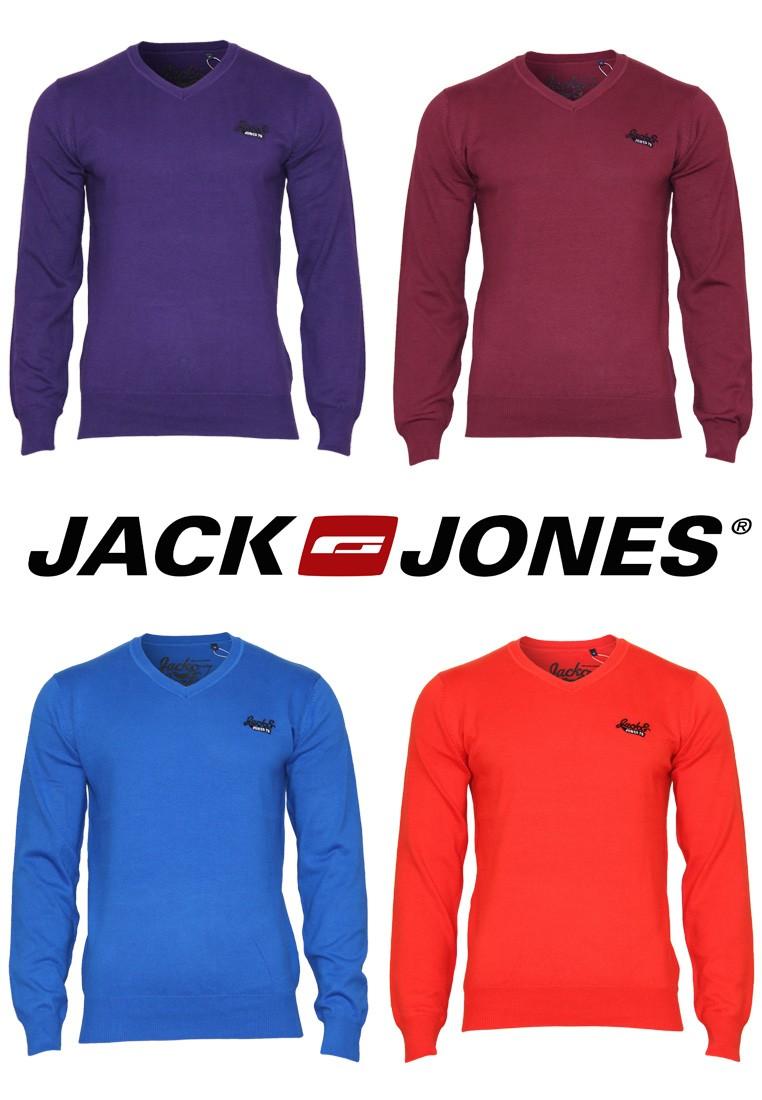 Jack-Jones-Pullover-Barcelona-V-Neck-Gr-S-M-L-XL-XXL-4-Farben-NEU