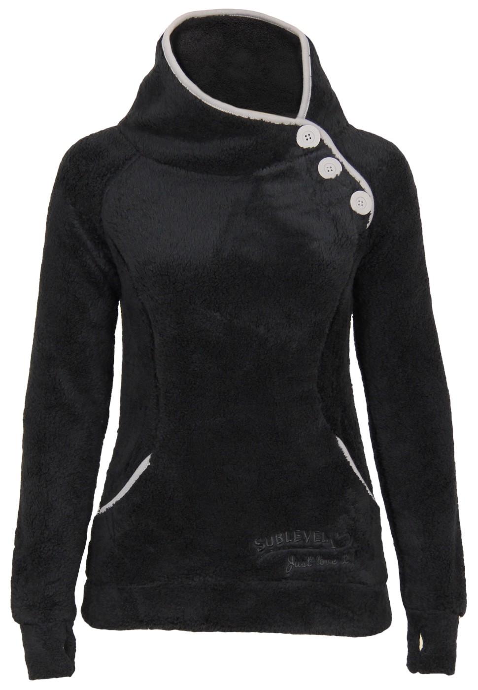 sublevel teddy fleece jacke mit daumenloch damen sweatshirts. Black Bedroom Furniture Sets. Home Design Ideas
