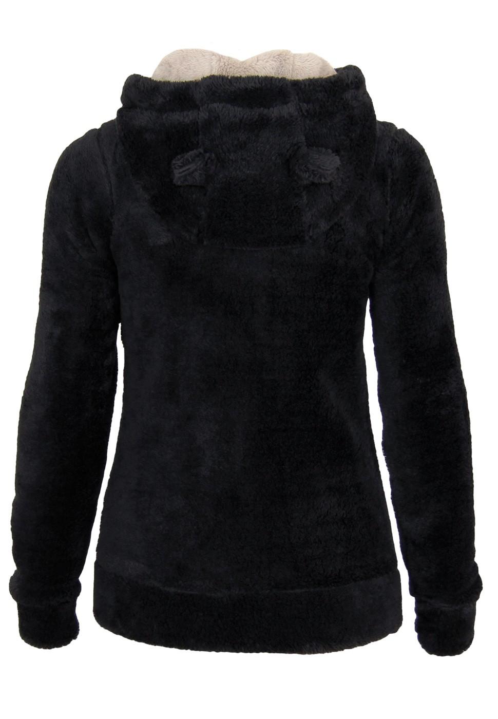 urban surface teddy fleece jacke mit hrchen damen sweatshirts. Black Bedroom Furniture Sets. Home Design Ideas